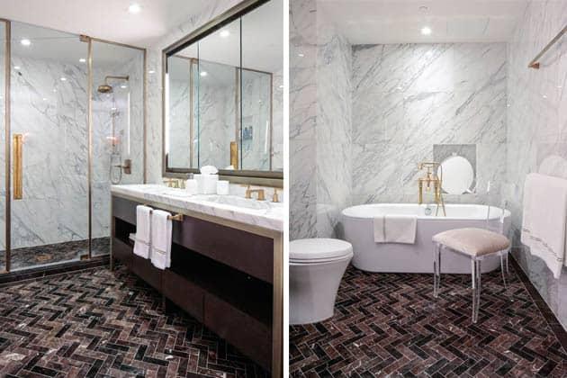 Herringbone Tiles Bathroom Design