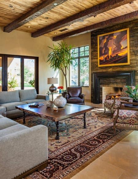 Sleek Slab Stone Fireplace