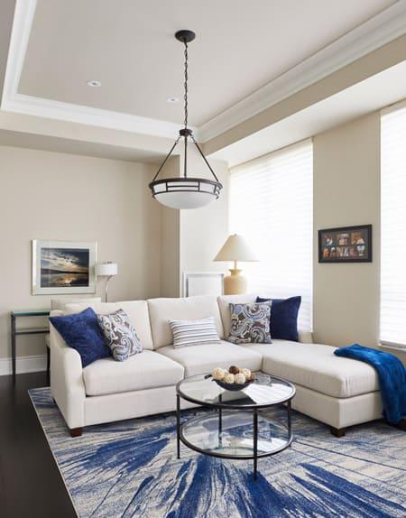 Lakeshore Condo Living Room Blue Rug