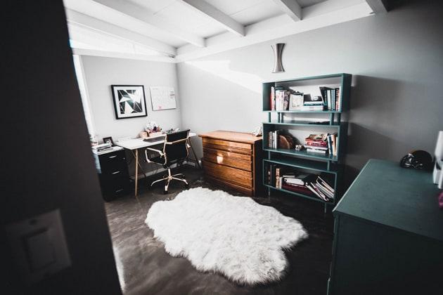 Study Room White Floor Rug