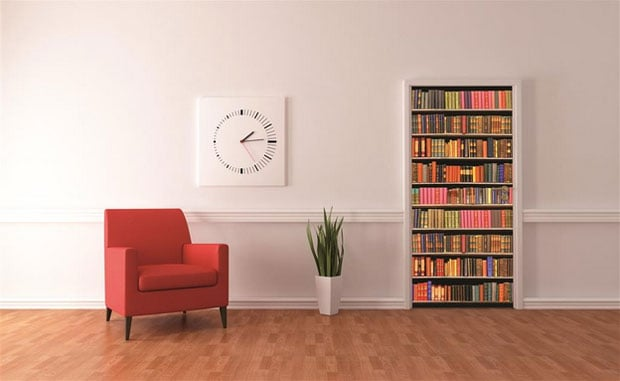 library-wall-mural-on-door