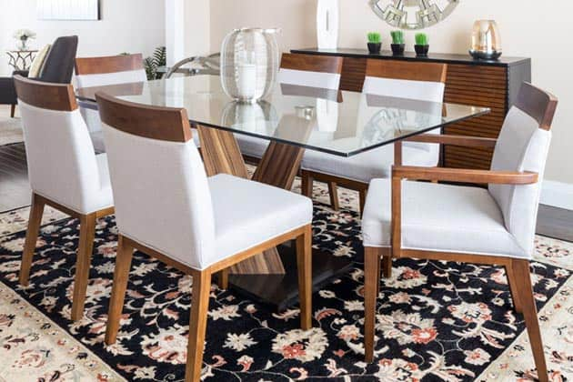 Floral Print Rug In Dining Area