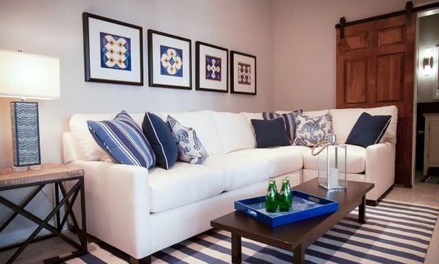 Blue And White Pool House Contemporary Living Room Atlanta