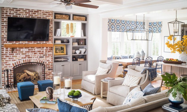 Traditional Transitional Living Room Brick Fireplace Builtins
