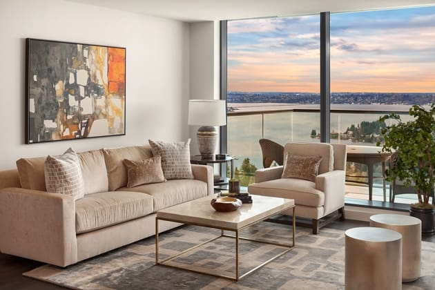 Lincoln Tower Bellevue Living Room Interior Design