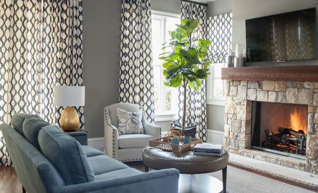 Modern Luxury Home Living Room Blue White Transitional Style Design Mantle