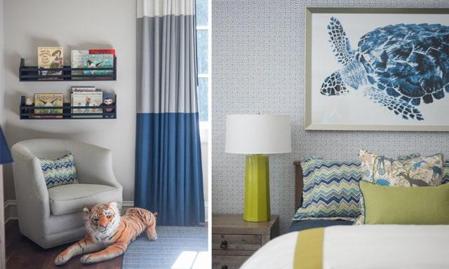 Nandina Home Interior Design Kids Bedroom Boy Blue Wallpaper Twin Beds Striped Curtains