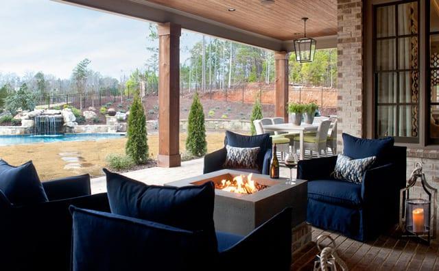 Modern Luxury Home Outdoor Furniture Patio Blue Chairs Firepit Backyard Design