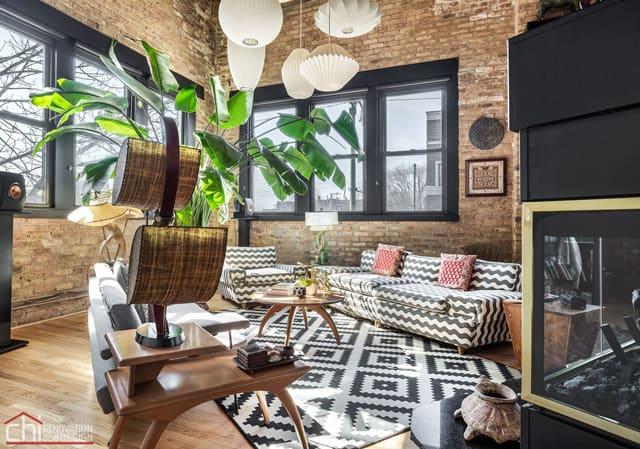 Chicago Timber Loft Living Room Renovation