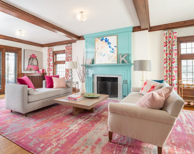 Luxury Living Room Pink Turquoise Minneapolis Interior