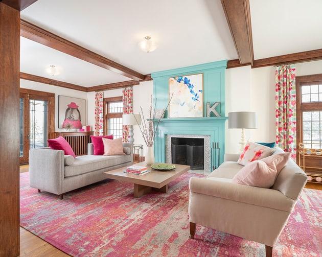 Luxury Living Room Pink Turquoise Interior Designer